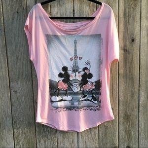 Disney Minnie & Mickey Paris Kissing  Graphic Tee